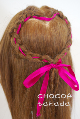体育祭 ヘアセット アレンジ 髪の毛 リボン ハート カワイイ